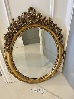 Ornate Bronze Gold Decorative Wall Hanging Oval Mirror Antique French Style