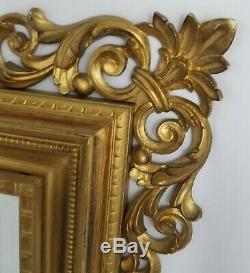 Ornate French Gold Wood Framed Beveled Wall Mantle Mirror Regency 32x26