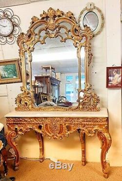 Ornate Rococo/Baroque Style Deep Wall Mirror