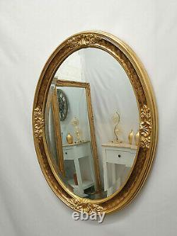 Oval Gilt Leaf Ornate Wall Mirror French Vintage Antique Decorative 61x81cm Gold