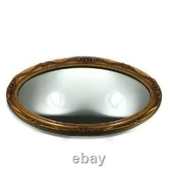 Oval Wall Mirror J. A. Olson Company Permaflect Large Ornate Gold Frame 31 x 19
