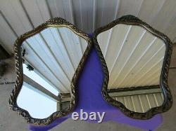 Oval Wall Mirror Ornate Frame Brushed Gold Hollywood Regency SYROCO Vintage
