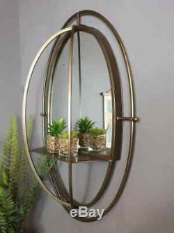 Oval Wall Mirror With Shelf Industrial Champagne Gold Metal Frame Vintage Chic