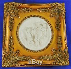 Pair Antique/Vtg White Bisque Porcelain Figural Gold Frame Wall Art Pictures
