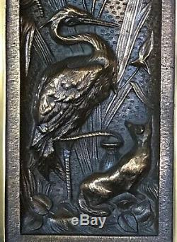Pair FOX & CRANE WALL PLAQUES Brass and Lacquered Frames Japonism Style Stunning