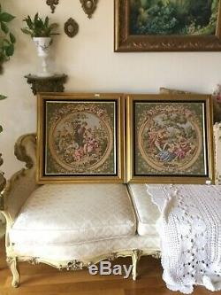 Pair Framed Tapestry Romantic Victorian Scene Rococo Wall Hanging Gold