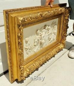 Pair Large Antique/Vtg 36 Putti Lion Gold Gilt Carved Wood Wall Picture Frames