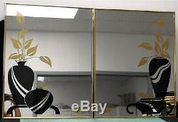 Pair Of Decorative Etched Wall Mirrors Black Vase & Gold Flower Mirror Design
