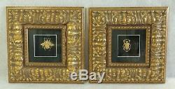 Pair Ornate CRISHAWN 12.75 Egyptian Gold Scarab Beetle Framed Art Wall Pictures