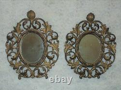 Pair of 19c Wall Mirrors French Rococo Style Gilt Metal / Picture Photo Frame
