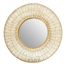 Paloma Gold Round Iron Wire Frame Wall Mirror