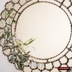 Peruvian Gold Round Mirror 23.6- Gold wood framed wall mirrors, Bathroom mirror