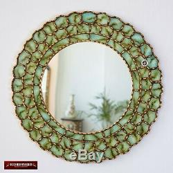 Peruvian Round Mirror 23.6in Andean Treasure- Gold wood framed wall mirror
