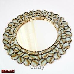 Peruvian Round Mirror 23.6in for wall decorative Gold wood framed wall mirror