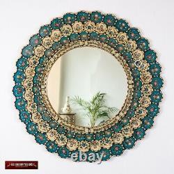 Peruvian Round Wall Mirror 31.5, Gold wood framed wall mirror, Bluish Turquoise