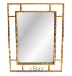 Polished Gold Wall Mirror Bamboo Effect Metal Frame