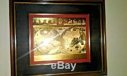 Prestigious VINTAGE Framed GOLD FOIL BLAEU Wall map OLD & NEW WORLD 35 X 29.5