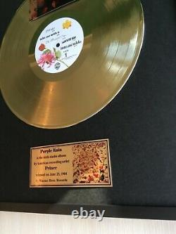 Prince Purple Rain 1984 Custom 24k Gold Vinyl Record in Wall Hanging Frame