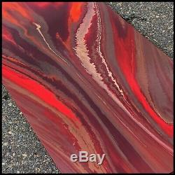 RED GOLD Modern Abstract Painting Canvas Wall Art Framed Signed US Megan Willis