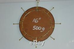 RETRO 60s-70s-NAUTICAL-ROUND-GILT METAL FRAME 16 DIA. CONVEX MIRROR GLASS 2KG