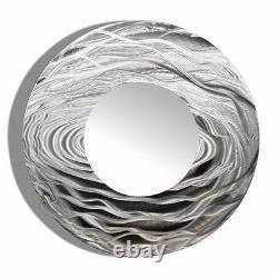 ROUND WALL MIRROR Metal Art Abstract Silver Accent Designer Decor Jon Allen