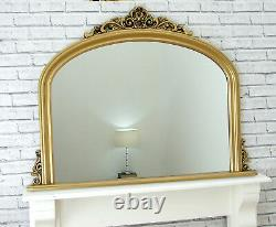 Reading Large Gold Ornate Arched Overmantle Antique Style Wall Mirror 122x90cm