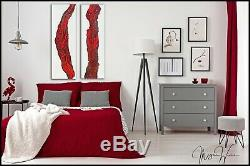 Red Abstract Gold Modern Canvas Wall Art Painting Framed ORIGINAL Resin X Willis