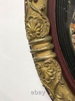 Regency Circular Wall Mirror With Ornate Gold Gilt Frame Antique