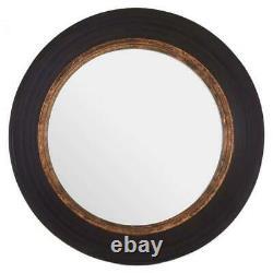Regina Black Round Wooden Frame with Gold Trim Wall Mirror