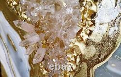 Resin Painting Geode Wall Art White Gold Modern Decor Healing Quartz Crystals