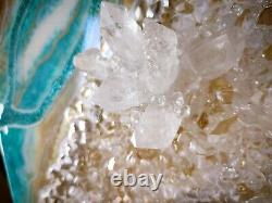 Resin Painting Wall Art in Teal Blue White Gold Home Modern Decor Quarz Crystals