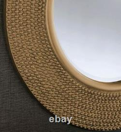 Rome Large Round New Wall Mirror Modern Gold Frame Art Deco Studded 79cm Diam