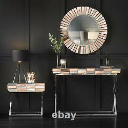 Rose Gold Wall Mounted Round Mirror 3D Effect Contemporary Modern Style