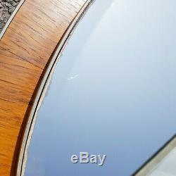Rosewood & gold metal frame oval wall mirror vintage retro mid century large big