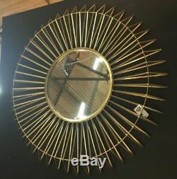 Round 3D Gold Metal Spine Frame Wall Mirror 106.5 cm Diameter x 8.5 cm Deep