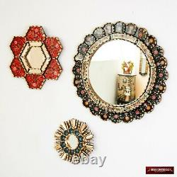 Round Accent Wall Mirrors Set 3 from Peru, Hand-painted glass wood mirror set