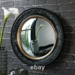 Round Black and Gold Convex Antique Style Porthole Wall Mirror 50cm