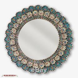 Round Mirror for wall decor set 3, Sunburst Mirrors Decorative Peru, Gold framed