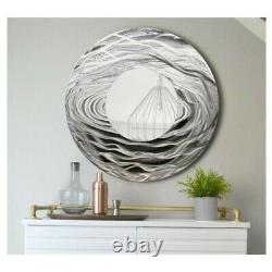 Round Silver Wall Mirror Metal Wall Art Accent for Modern Home Decor Jon Allen