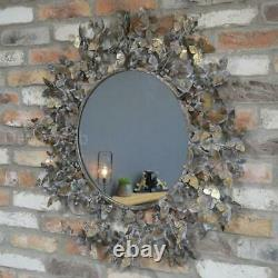 Round Wall Hanging Mirror Dusty Gold Metallic Finish Metal Butterfly Frame
