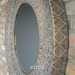 Round Wall Mirror Ornate Gold and Grey Metal Large Circle Frame 93cm