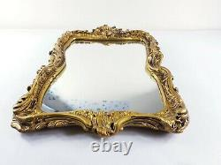 STUNNING Vintage Old Gold Ornate Wall Hung Mirror 1970s RARE