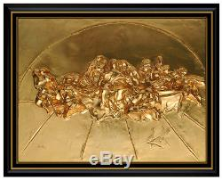 Salvador Dali The Last Supper Gold Relief Bronze Sculpture Signed Surreal Art