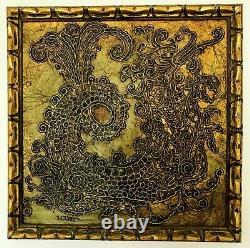 Sascha Brastoff Dragon tile framed and signed vintage mid century tile wall art