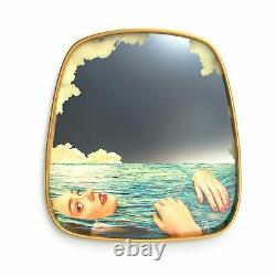 Seletti Wears Toiletpaper Wall Mirror with Wooden Frame, 54xh59cm, Sea Girl
