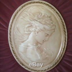 Set Of 2 Vintage 24x21 Gold Framed Cameos W Velvet Backing Italian Lady Wall Art