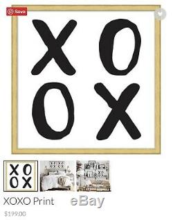 Set of 2 Pottery Barn XO XO Print Gold Picture Frame Wall Art $398 Value
