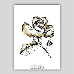 Set of 3 Framed Gold Floral Abstract Rose Flower Wall Art Print Picture Poster