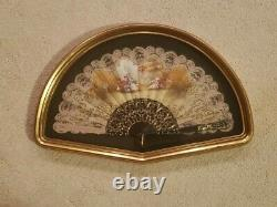 Shadow Box Folding Fan Wall Art Gold Framed 21x13.5x2 Rare Vintage