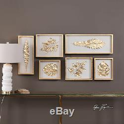 Six New Modern Shadow Boxes With Leaves Under Glass Gold Leaf Finish Wall Art